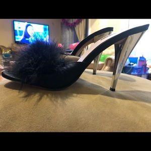 1cfa40fe593 Bebe Marabou slip on heels Sz 9 perfect condition